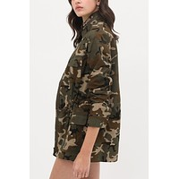Long Sleeve Camo Print Military Anorak Jacket with Pockets