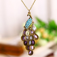 Blue Crystal Peacock Necklace