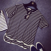 Striped Short Sleeves  High Low Curved Hem T-Shirt