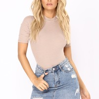 Ahead Of Yourself Stripe Bodysuit - Taupe/Combo
