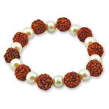 Rudraksha Bead Stretch Bracelet with White Beads - Sold as as Set of  2