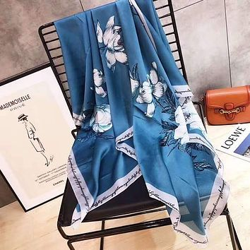 Spring Summer Women Temperament Fashion Double-Sided Letter Flowers Print Spell Color Stripe Silk Scarf Shawl
