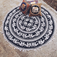 By The Moon - Elephant Lily Mandala Round Throw