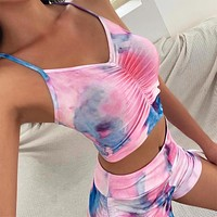 2020 new women's casual fashion two-piece tie-dye sling pleated suit two-piece