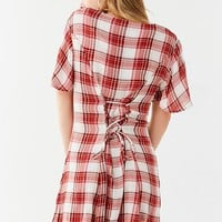 UO Plaid Button-Down Lace-Up Mini Dress | Urban Outfitters