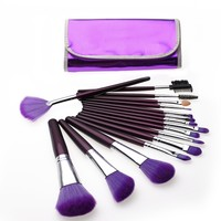 Unimeix 16 Pcs Professional Cosmetic Makeup Make up Brush Brushes Set Kit with Purple Bag Case