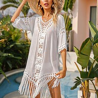 Knitted Beach Cover Up Women Bikini Swimsuit Cover Up Hollow Out Beach Dress Tassel Tunics Bathing Suits Cover-Ups Beachwear