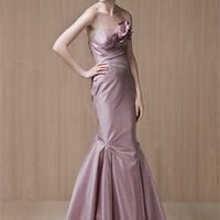 Mermaid Strapless With Flower Satin Prom Dress PD0559