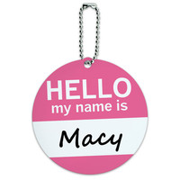 Macy Hello My Name Is Round ID Card Luggage Tag
