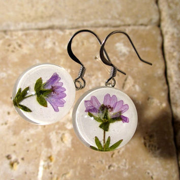 Dovefoot Geranium Earrings, plant jewelry, flower jewellery, wild geranium, glass earring, nature, rustic