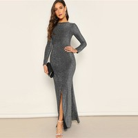 Silver Solid Sexy Open Back Split Mermaid Hem Skinny Maxi Dress Women Elegant Sheath Stretchy Party Dresses