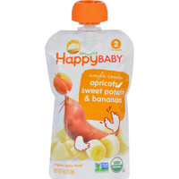Happy Baby Food - Organic - Simple Combos - Apricots Sweet Potatoes And Bananas - 6 Plus Months - Stage 2 - 3.5 Oz - Case Of 16