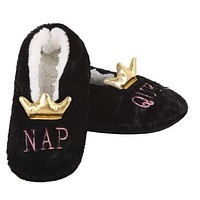 Nap Queen Slippers in Soft Black with 3-D Gold Crown | Soft Spa Fuzzy Slippers | House Shoes | Indoor Fluffy Fur Lady Slippers