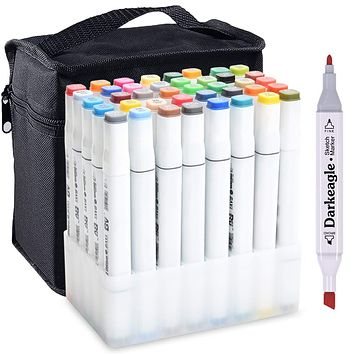Markers, 40 Colors Art Marker Set, New Generation Dual Tip Permanent Marker pens
