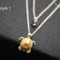 Delicate turtle necklace layered necklace