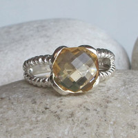 Square Citrine Ring- Birthstone Ring for Her- Bridesmaid Ring- Statement Ring- Topaz Ring- Jewelry Gifts- Anniversary Ring
