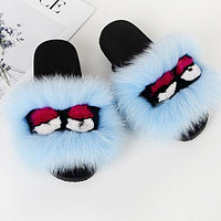 FENDI Women Casual Little Monsters Fur Flats Sandals Slipper Shoes