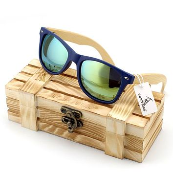Men's Bamboo Wood Sunglasses in Vintage Style with