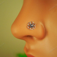 sterling silver s-flower  nose ring nose stud nose hoop nose jewelry nose piercing, MSL030
