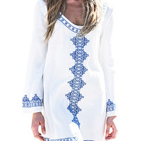 Embroidery Long Sleeve Beach Cover Up Dress