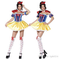 Snow White Skirt Halloween Costume Cosplay Fancy Party Theme Costume Princess Dresses Stage Performance Clothes Tire Shawl Bracelets 6in1 A2