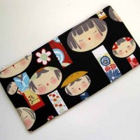Fabric Pouch Zippered  - KOKESHI DOLLS pencil.  Green or Pink too. | Nancym4 - Bags & Purses on ArtFire