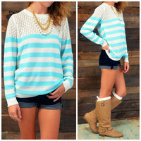Spring Bay Baby Blue Striped Knit Sweater