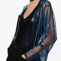 Erin Mermaid Mesh Hooded Jacket | Boohoo