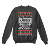 SPBEST Jeep Riding Through The Mountains Ugly Christmas Sweater