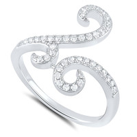 Sterling Silver Simulated Diamond Free Form Spiral Ring