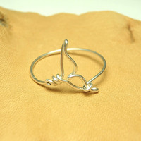 Whale tail wire ring - handmade sterling silver wire 925 -sea whale tail- orca tail ring