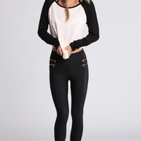 Autumn Patchwork Long Sleeve Tops T-shirts [9819085007]