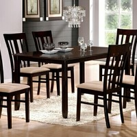 7 pc Virginia collection espresso finish wood dining table set with slatted back chairs and fabric seats