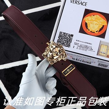 Versace Women's  Men's Fashion Smooth Buckle Belt Leather Belt Monogram Leather Belt