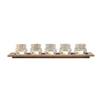 Beachwood 5 Votive Tray Beachwood,Clear