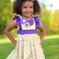 Sun Kissed Girls Dress and Pants Outfit, Ruffle Dress with Petticoat and Ruffle Pants, Little Girl Dresses, Sizes 2T 3T 4T 5 6 7 8