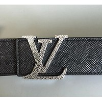 Bunchsun LV cruciform leather leather leather belt