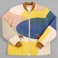 folk - cave quilted jacket block print