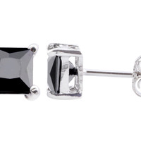 Square Black CZ Stud Earrings 925 Sterling Silver Basket Setting