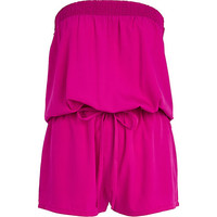 River Island Womens Bright pink bandeau waisted Romper