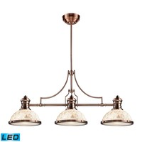 Chadwick 3-Light Island Light in Antique Copper with Cappa Shell Shade - Includes LED Bulbs