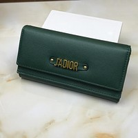 J'a Dior Women Leather Buckle Wallet Purse