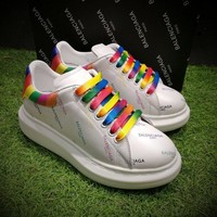 Sale BaLenciaga 17ss White Rainbow Casual Shoes Men Women Sport Shoes