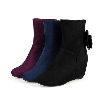 Back Bow Wedges Boots Women Shoes Fall Winter 9927