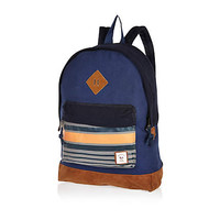 NAVY BELLFIELD STRIPE POCKET BACKPACK