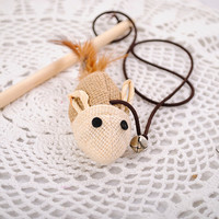 Wooden Pole  Mouse Cat toy
