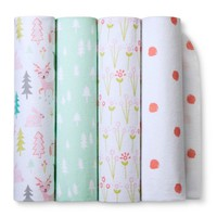Flannel Baby Blankets Forest Frolic 4pk - Cloud Island™ - Pink