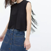 Black Backless Fringed Sleeveless Shirt