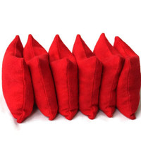 Bright Red Flannel Bean Bags (set of 6) Small 3 Inch Squares Rice-filled Bean Bags - US Shipping Included