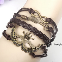 More than a Halloween party mask combination bracelet accessories, both men and women's leather braided braceletNW8019